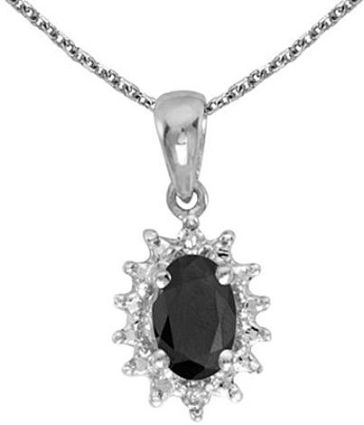 14k White Gold Oval Onyx And Diamond Pendant (Chain NOT included) (CM-P1342XW-OX)