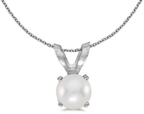 14k White Gold Pearl Pendant (Chain NOT included) (CM-P1414XW-06)
