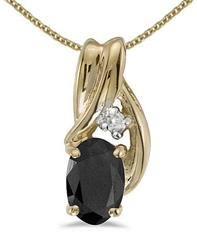 14k Yellow Gold Oval Onyx And Diamond Pendant (Chain NOT included) (CM-P1861X-OX)