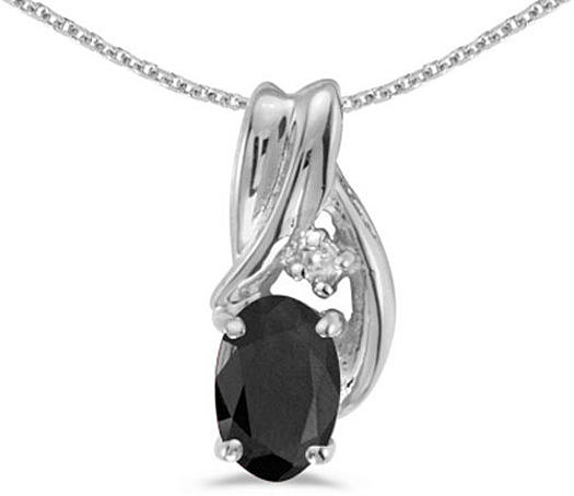 14k White Gold Oval Onyx And Diamond Pendant (Chain NOT included) (CM-P1861XW-OX)