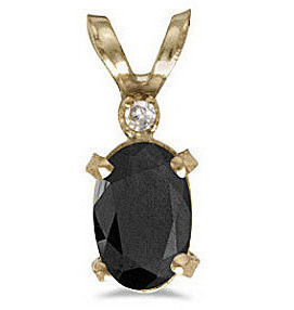 14k Yellow Gold Oval Onyx And Diamond Filigree Pendant (Chain NOT included)