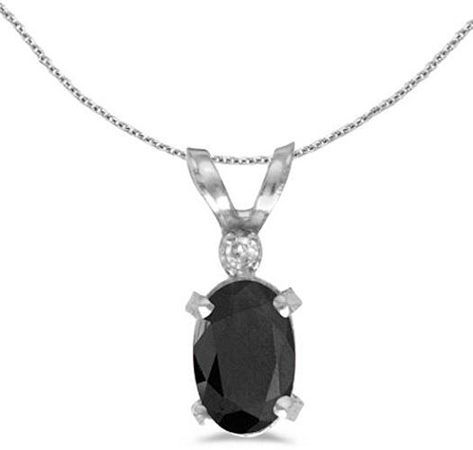 14k White Gold Oval Onyx And Diamond Filigree Pendant (Chain NOT included)