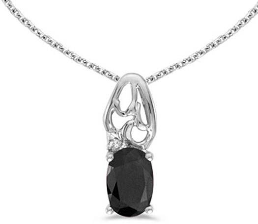 14k White Gold Oval Onyx And Diamond Pendant (Chain NOT included) (CM-P2582XW-OX)