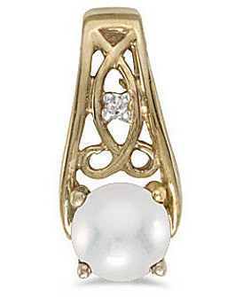 14k Yellow Gold Pearl And Diamond Pendant (Chain NOT included) (CM-P2587X-06)