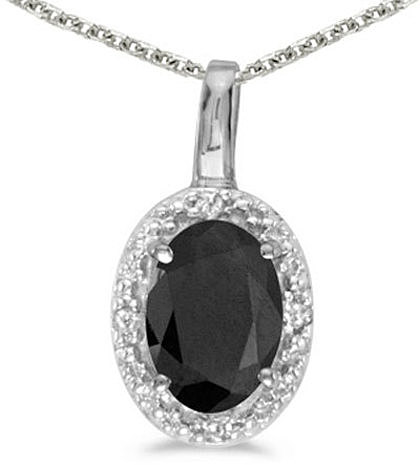 14k White Gold Oval Onyx And Diamond Pendant (Chain NOT included) (CM-P2615XW-OX)