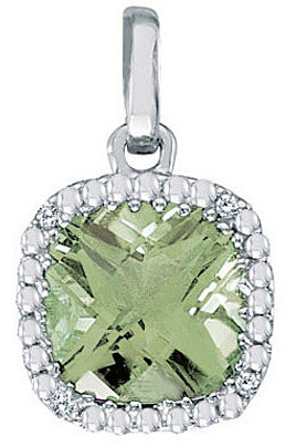 "14K White Gold 7mm (2/7"") Cushion Green Amethyst and Diamond Pendant (Chain NOT included)"
