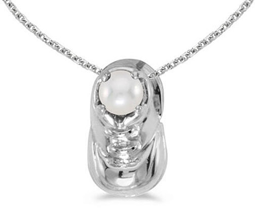 14k White Gold Pearl Baby Bootie Pendant (Chain NOT included)