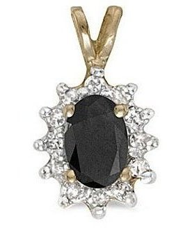 10k Yellow Gold Oval Onyx And Diamond Pendant (Chain NOT included)