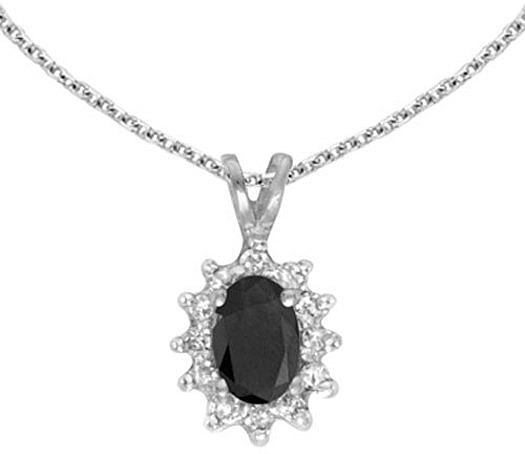 14k White Gold Oval Onyx And Diamond Pendant (Chain NOT included) (CM-P6410XW-OX)