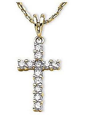 14K Yellow Gold Diamond Cross Pendant (Chain NOT included) (CM-P7062)