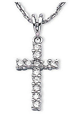 14K White Gold Diamond Cross Pendant (Chain NOT included) (CM-P7063W)