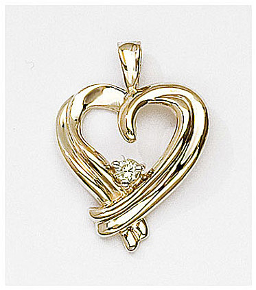 14K Yellow Gold Diamond Heart Pendant (Chain NOT included) (CM-P7102)