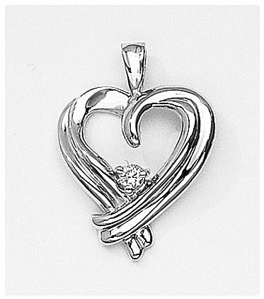 14K White Gold Diamond Heart Pendant (Chain NOT included) (CM-P7102W)