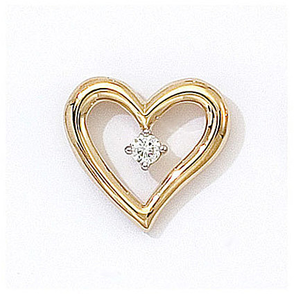 14K Yellow Gold Diamond Heart Pendant (Chain NOT included) (CM-P7112)