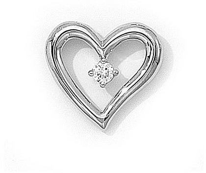14K White Gold Diamond Heart Pendant (Chain NOT included) (CM-P7112W)