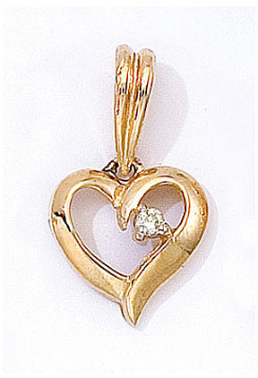 14K Yellow Gold Diamond Heart Pendant (Chain NOT included) (CM-P7275)