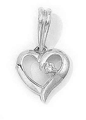 14K White Gold Diamond Heart Pendant (Chain NOT included) (CM-P7275W)