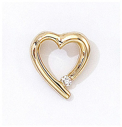 14K Yellow Gold Diamond Heart Pendant (Chain NOT included) (CM-P7282)