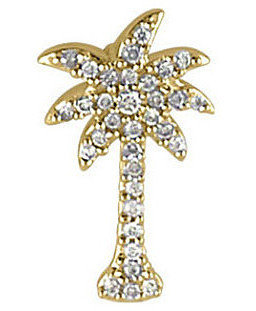 14K Yellow Gold .10 ctw Diamond Palm Tree Pendant (Chain NOT included)