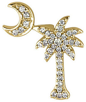 14K Yellow Gold .15 ctw Diamond Palm Tree and Crescent Moon Pendant (Chain NOT included)