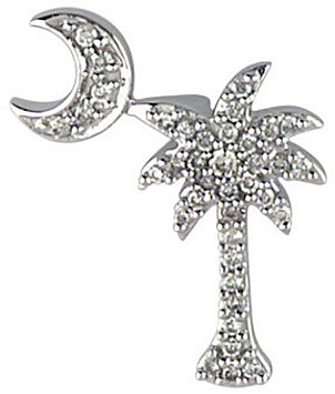 14K White Gold .15 ctw Diamond Palm Tree and Crescent Moon Pendant (Chain NOT included)