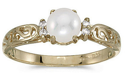 10k Yellow Gold Pearl And Diamond Ring (CM-R2205-06)