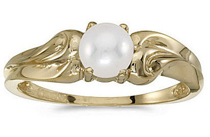 10k Yellow Gold Pearl And Diamond Ring (CM-RM1037-06)