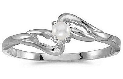 10k White Gold Pearl Ring (CM-RM1039W-06)