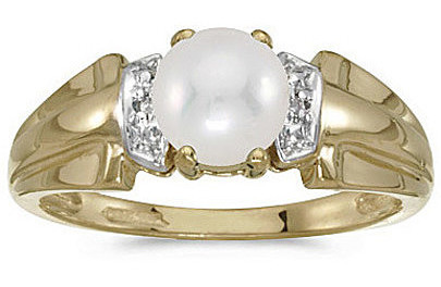 10k Yellow Gold Pearl And Diamond Ring (CM-RM1041-06)