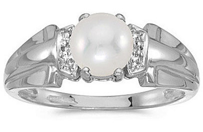 10k White Gold Pearl And Diamond Ring (CM-RM1041W-06)