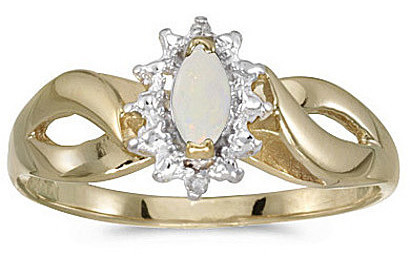 10k Yellow Gold Marquise Opal And Diamond Ring (CM-RM1050-10)