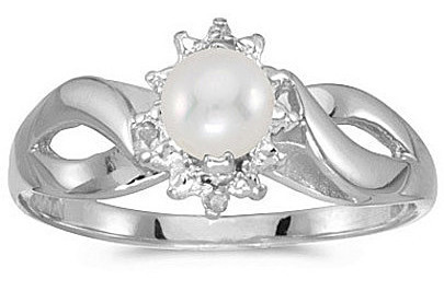 10k White Gold Pearl And Diamond Ring (CM-RM1050W-06)