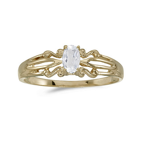 14k Yellow Gold Oval White Topaz Ring (CM-RM1058X-04)