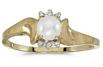 14k Yellow Gold Pearl And Diamond Satin Finish Ring (CM-RM1125X-06)