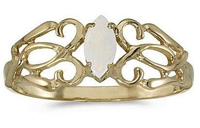 10k Yellow Gold Marquise Opal Filigree Ring (CM-RM1188-10)