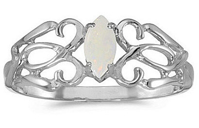 10k White Gold Marquise Opal Filigree Ring (CM-RM1188W-10)