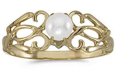 14k Yellow Gold Pearl Filigree Ring (CM-RM1188X-06)