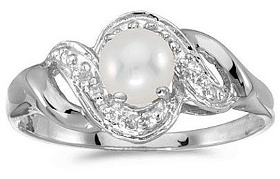 10k White Gold Pearl And Diamond Swirl Ring (CM-RM1190W-06)