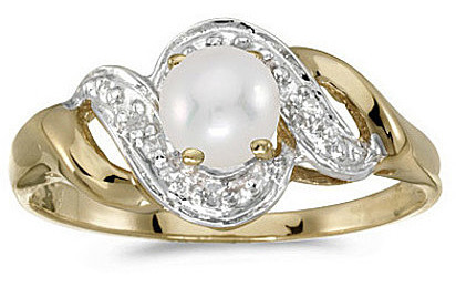14k Yellow Gold Pearl And Diamond Swirl Ring (CM-RM1190X-06)