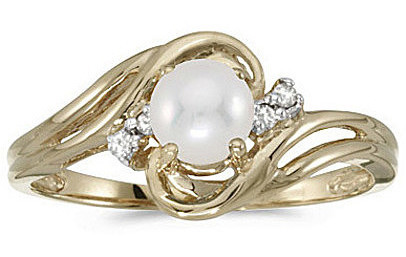 14k Yellow Gold Pearl And Diamond Ring (CM-RM1219X-06)