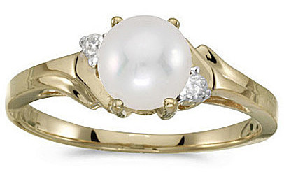 10k Yellow Gold Pearl And Diamond Ring (CM-RM1248-06)