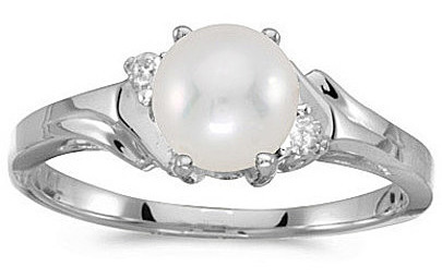 14k White Gold Pearl And Diamond Ring (CM-RM1248XW-06)
