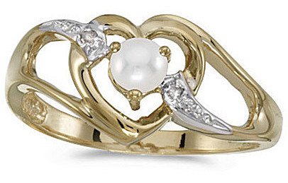 10k Yellow Gold Pearl And Diamond Heart Ring (CM-RM1336-06)