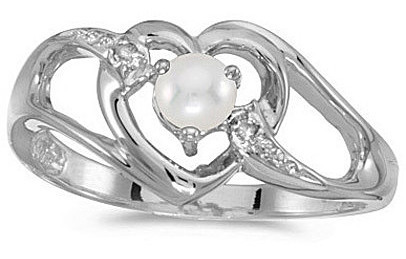 14k White Gold Pearl And Diamond Heart Ring (CM-RM1336XW-06)