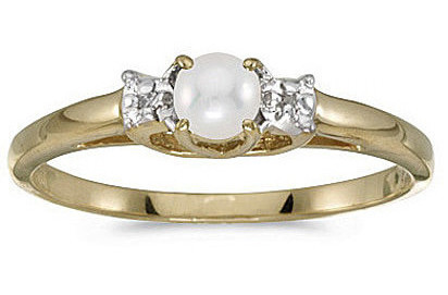 10k Yellow Gold Pearl And Diamond Ring (CM-RM1575-06)