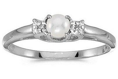 10k White Gold Pearl And Diamond Ring (CM-RM1575W-06)