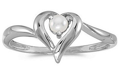 10k White Gold Pearl Heart Ring (CM-RM1588W-06)