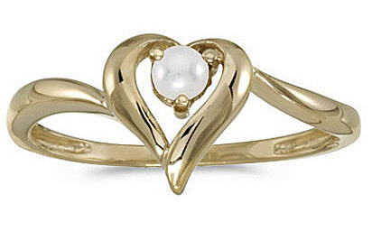 14k Yellow Gold Pearl Heart Ring (CM-RM1588X-06)