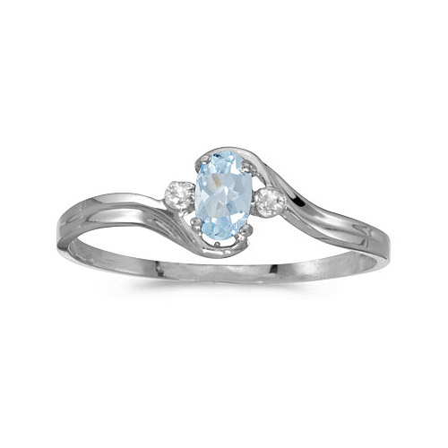 10k White Gold Oval Aquamarine And Diamond Ring (CM-RM1678W-03)