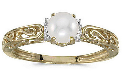 10k Yellow Gold Pearl And Diamond Ring (CM-RM1689-06)
